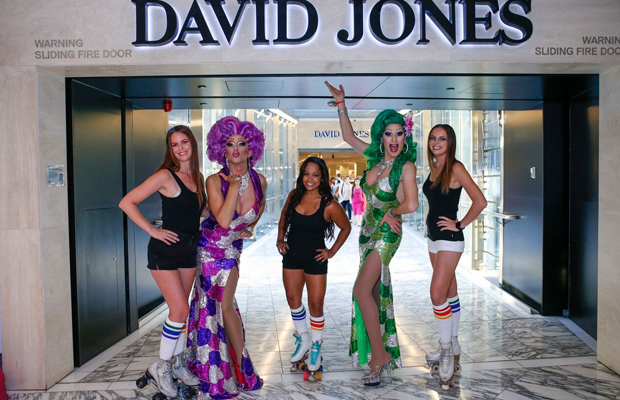 Sydney Drag Queen's Ménage A'trois & Prada Clutch welcome guests to the David Jones event!